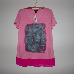 """Style & Co """"Love Life"""" Women's Pink Shirt XL NWT"""